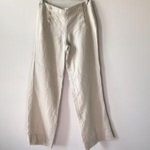 Max Studio Wide Leg Linen Button Front Sailor Pant